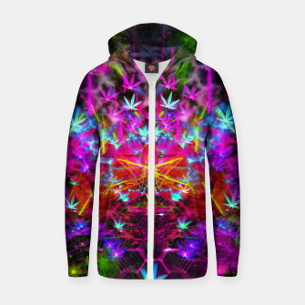 Miniatur Cannabinoid Space-Time Warp (psychedelic,abstract, cannabis leaf) Cotton zip up hoodie, Live Heroes