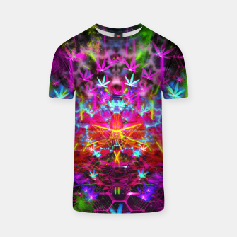 Miniatur Cannabinoid Space-Time Warp (psychedelic,abstract, cannabis leaf) T-shirt, Live Heroes