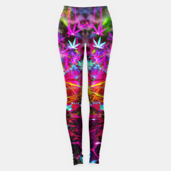 Miniatur Cannabinoid Space-Time Warp (psychedelic,abstract, cannabis leaf) Leggings, Live Heroes