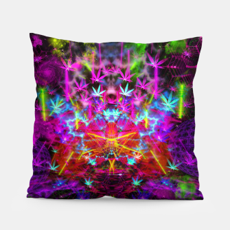 Miniatur Cannabinoid Space-Time Warp (psychedelic,abstract, cannabis leaf) Pillow, Live Heroes