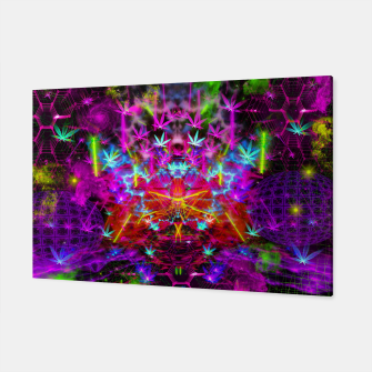 Miniatur Cannabinoid Space-Time Warp (psychedelic,abstract, cannabis leaf) Canvas, Live Heroes