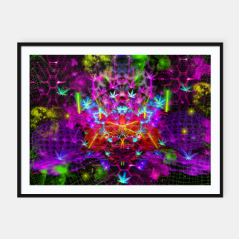 Miniatur Cannabinoid Space-Time Warp (psychedelic,abstract, cannabis leaf) Framed poster, Live Heroes