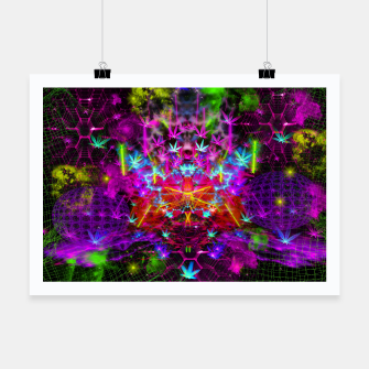 Miniatur Cannabinoid Space-Time Warp (psychedelic,abstract, cannabis leaf) Poster, Live Heroes