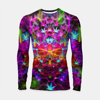 Miniatur Cannabinoid Space-Time Warp (psychedelic,abstract, cannabis leaf) Longsleeve rashguard , Live Heroes
