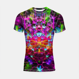Miniatur Cannabinoid Space-Time Warp (psychedelic,abstract, cannabis leaf) Shortsleeve rashguard, Live Heroes