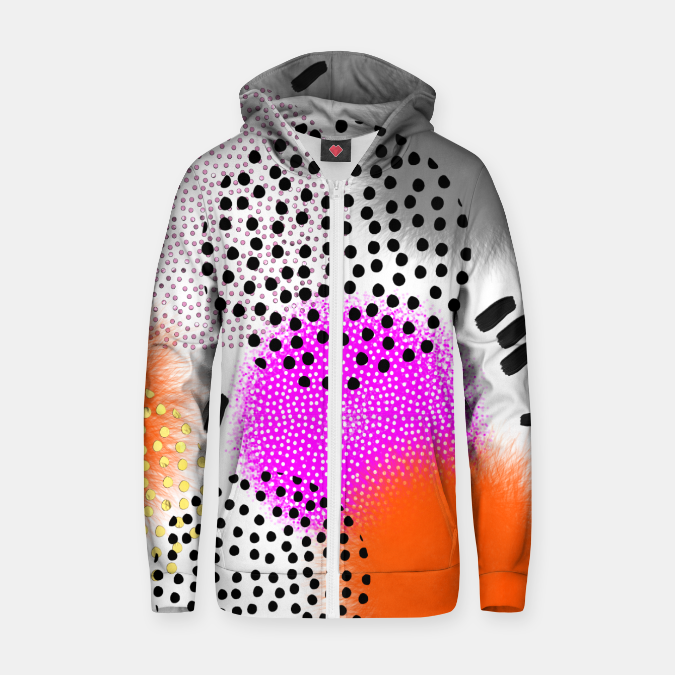 Image of Bold Bright Geometric Abstract Fusion Cotton zip up hoodie - Live Heroes