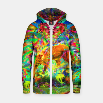 Thumbnail image of The Laser Focus of Cougar Conciousness (cat, mountain lion) Cotton zip up hoodie, Live Heroes
