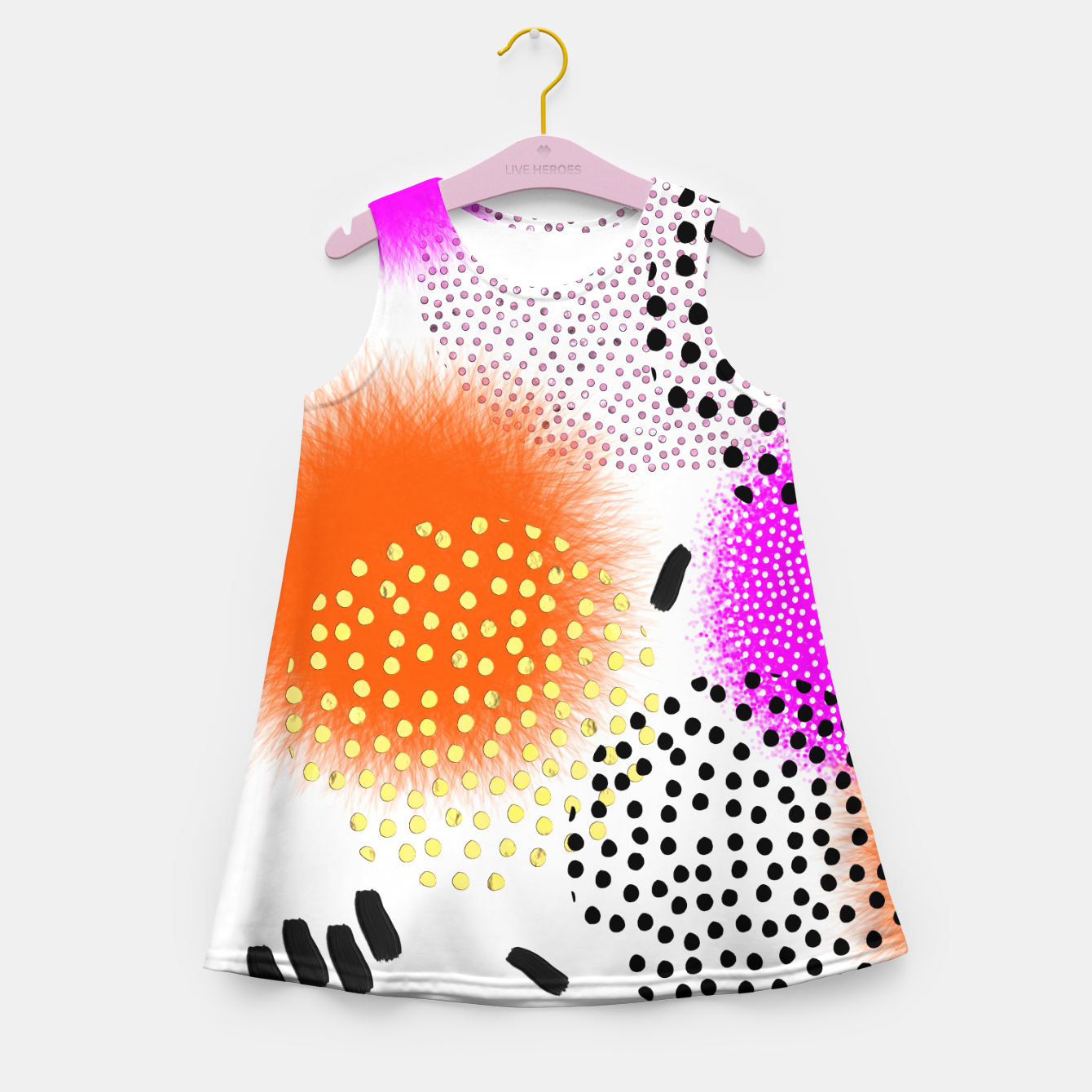 Image of Bold Bright Geometric Abstract Fusion Girl's summer dress - Live Heroes
