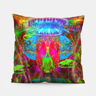 Thumbnail image of Paleo Scream Invocation (dinosaurs, skulls, occult, teeth) Pillow, Live Heroes