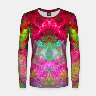 Thumbnail image of Hallucinogenic Hibiscus Flowers (visionary, fractals) Woman cotton sweater, Live Heroes