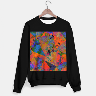 Miniaturka psychedelic geometric triangle pattern abstract with painting abstract background in orange and blue Sweater regular, Live Heroes