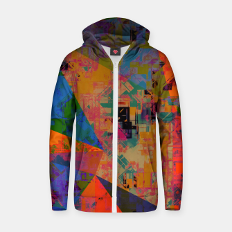 Miniaturka psychedelic geometric triangle pattern abstract with painting abstract background in orange and blue Cotton zip up hoodie, Live Heroes