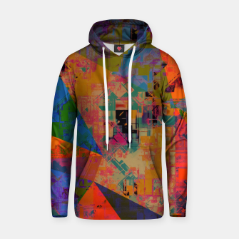 Miniaturka psychedelic geometric triangle pattern abstract with painting abstract background in orange and blue Cotton hoodie, Live Heroes