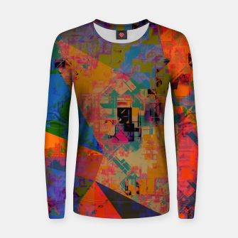 Miniaturka psychedelic geometric triangle pattern abstract with painting abstract background in orange and blue Woman cotton sweater, Live Heroes