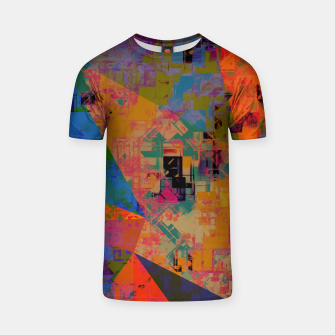 Miniaturka psychedelic geometric triangle pattern abstract with painting abstract background in orange and blue T-shirt, Live Heroes