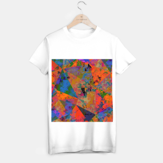 Miniaturka psychedelic geometric triangle pattern abstract with painting abstract background in orange and blue T-shirt regular, Live Heroes