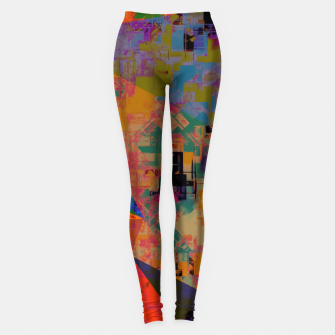Miniaturka psychedelic geometric triangle pattern abstract with painting abstract background in orange and blue Leggings, Live Heroes