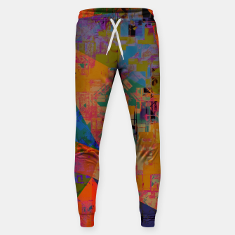 Miniaturka psychedelic geometric triangle pattern abstract with painting abstract background in orange and blue Cotton sweatpants, Live Heroes