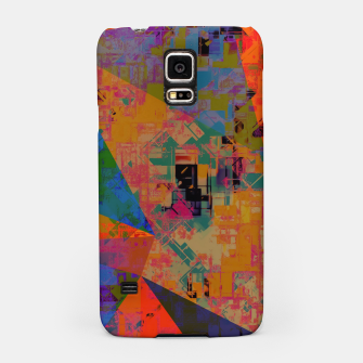 Miniaturka psychedelic geometric triangle pattern abstract with painting abstract background in orange and blue Samsung Case, Live Heroes