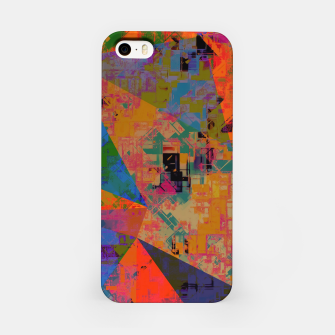 Miniaturka psychedelic geometric triangle pattern abstract with painting abstract background in orange and blue iPhone Case, Live Heroes