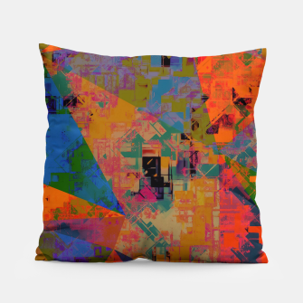 Miniaturka psychedelic geometric triangle pattern abstract with painting abstract background in orange and blue Pillow, Live Heroes