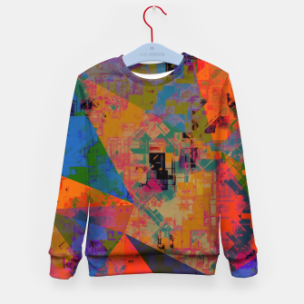 Miniaturka psychedelic geometric triangle pattern abstract with painting abstract background in orange and blue Kid's sweater, Live Heroes