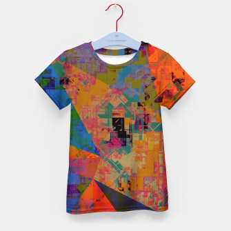 Miniaturka psychedelic geometric triangle pattern abstract with painting abstract background in orange and blue Kid's t-shirt, Live Heroes