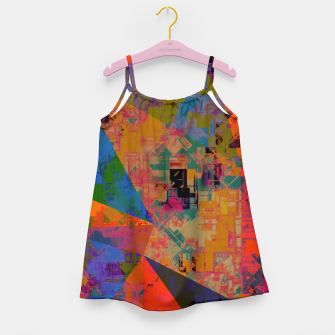 Miniaturka psychedelic geometric triangle pattern abstract with painting abstract background in orange and blue Girl's dress, Live Heroes
