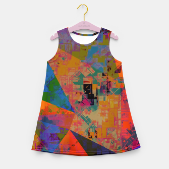 Miniaturka psychedelic geometric triangle pattern abstract with painting abstract background in orange and blue Girl's summer dress, Live Heroes