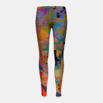 Miniaturka psychedelic geometric triangle pattern abstract with painting abstract background in orange and blue Girl's leggings, Live Heroes