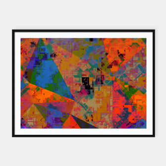 Miniaturka psychedelic geometric triangle pattern abstract with painting abstract background in orange and blue Framed poster, Live Heroes