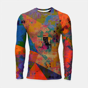 Miniaturka psychedelic geometric triangle pattern abstract with painting abstract background in orange and blue Longsleeve rashguard , Live Heroes