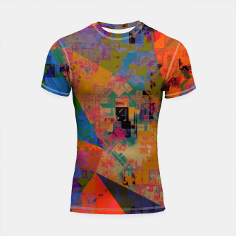 Miniaturka psychedelic geometric triangle pattern abstract with painting abstract background in orange and blue Shortsleeve rashguard, Live Heroes
