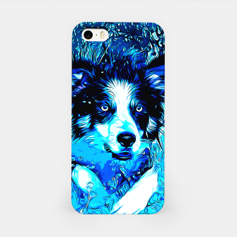 Thumbnail image of gxp border collie jumping in water vector art crisp winter iPhone Case, Live Heroes