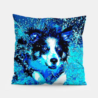 Thumbnail image of gxp border collie jumping in water vector art crisp winter Pillow, Live Heroes