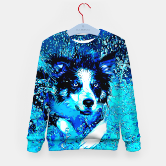 Thumbnail image of gxp border collie jumping in water vector art crisp winter Kid's sweater, Live Heroes
