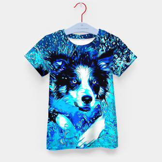 Thumbnail image of gxp border collie jumping in water vector art crisp winter Kid's t-shirt, Live Heroes