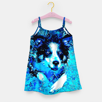 Thumbnail image of gxp border collie jumping in water vector art crisp winter Girl's dress, Live Heroes