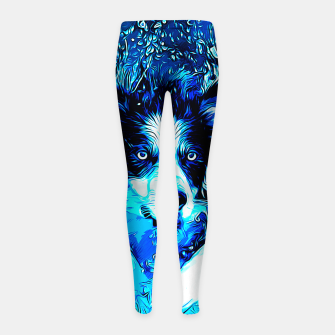Thumbnail image of gxp border collie jumping in water vector art crisp winter Girl's leggings, Live Heroes