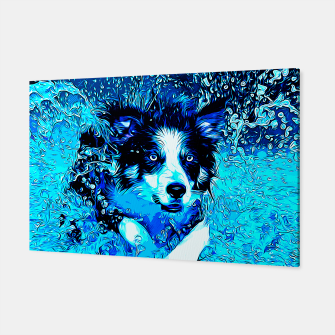 Thumbnail image of gxp border collie jumping in water vector art crisp winter Canvas, Live Heroes