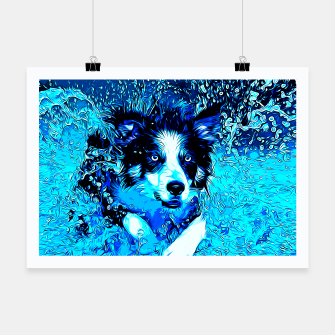 Thumbnail image of gxp border collie jumping in water vector art crisp winter Poster, Live Heroes