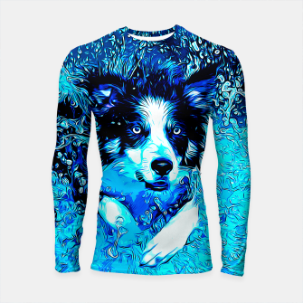Thumbnail image of gxp border collie jumping in water vector art crisp winter Longsleeve rashguard , Live Heroes