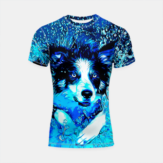 Thumbnail image of gxp border collie jumping in water vector art crisp winter Shortsleeve rashguard, Live Heroes