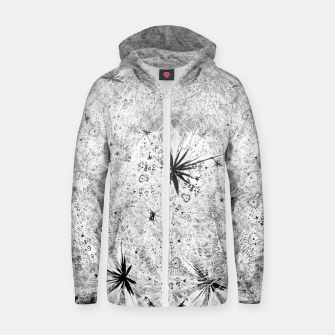 Thumbnail image of Snowball (winter, abstract, black and white) Cotton zip up hoodie, Live Heroes
