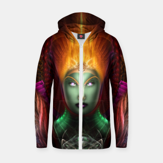 Thumbnail image of Riddian Queen Of Fire Fractal Portrait ZM Cotton zip up hoodie, Live Heroes
