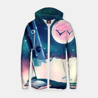 Thumbnail image of Moon Wash Cotton zip up hoodie, Live Heroes