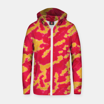 Thumbnail image of Red and Orange Abstract Pattern Cotton zip up hoodie, Live Heroes