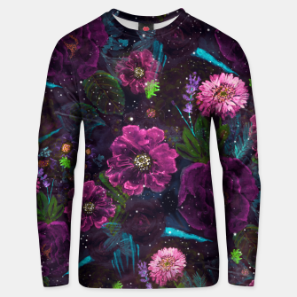 Miniatur Whimsical Watercolor night garden floral hand paint  Cotton sweater, Live Heroes