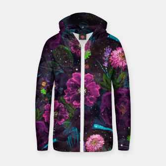 Miniatur Whimsical Watercolor night garden floral hand paint  Cotton zip up hoodie, Live Heroes