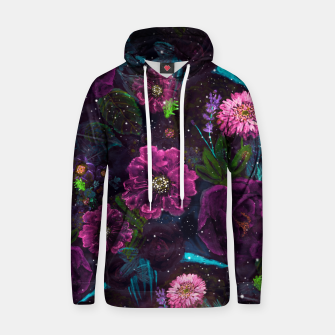 Miniatur Whimsical Watercolor night garden floral hand paint  Cotton hoodie, Live Heroes